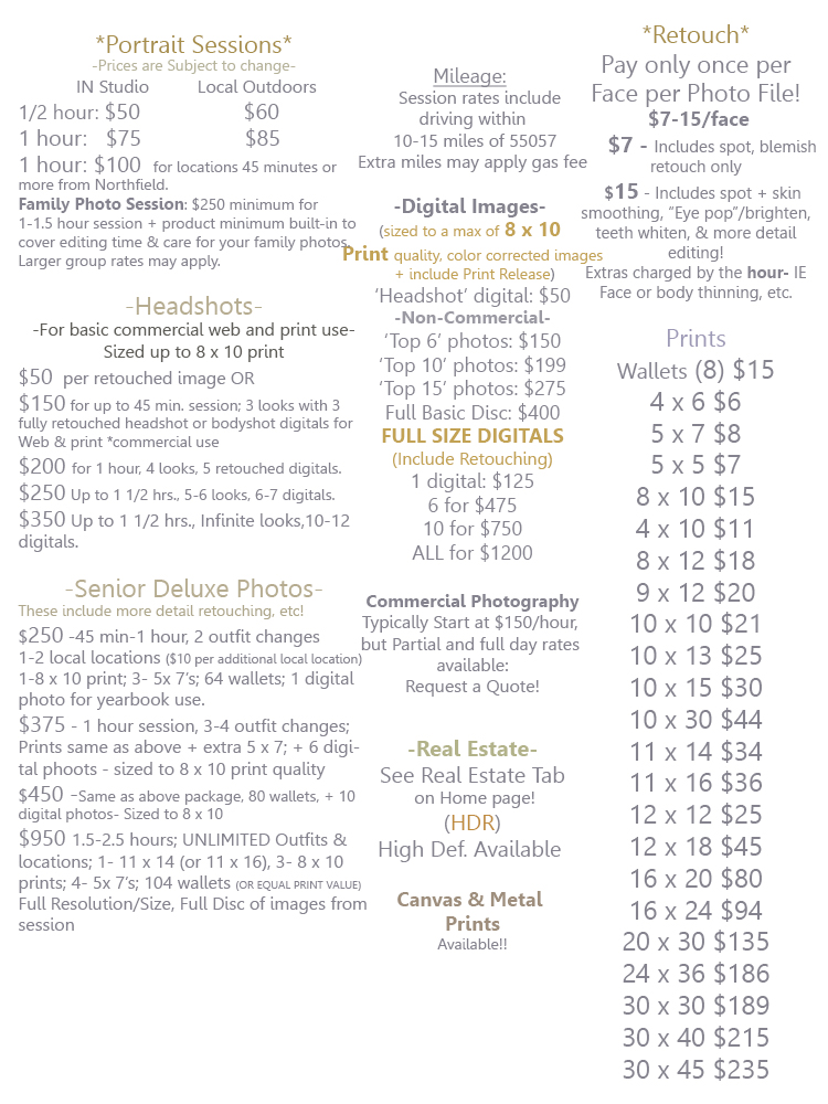 Full Pricing Sheet excluding Canvas 12.28.2015